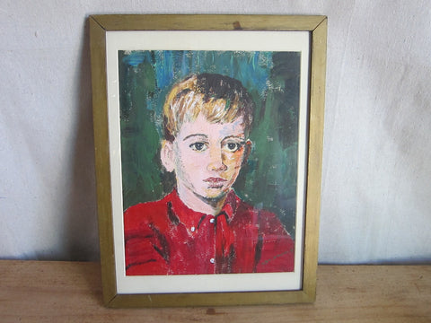 Vintage Oil Painting of Young Boy In Red - Benjamin '68 - Yesteryear Essentials  - 1