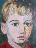 Vintage Oil Painting of Young Boy In Red - Benjamin '68 - Yesteryear Essentials  - 3