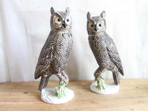 "Vintage Pair of 13.5"" Ceramic Owl Figurines - Yesteryear Essentials  - 1"
