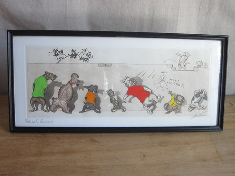 "1930's signed Boris O Klein Canine Hand Colored Print - ""Eternels Ennemis"" - Yesteryear Essentials  - 1"