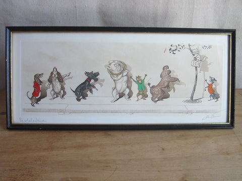 1930's signed Boris O Klein Canine Hand Colored Print - 'Le Malentendu' - Yesteryear Essentials  - 1