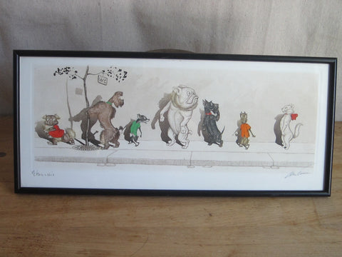 1930's signed Boris O Klein Canine Hand Colored Print 'Etourdie' - Yesteryear Essentials  - 1