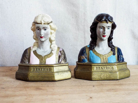 1920's Decorative Bronze Clad Beatrice Bookends by the Armor Bronze Co - Yesteryear Essentials  - 1