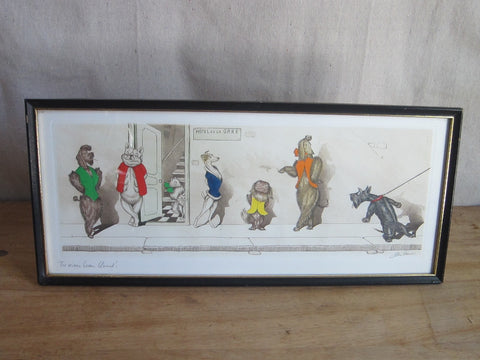 1930's signed Boris O Klein Canine Hand Colored Print - 'Tu Viens Beau Blond' - Yesteryear Essentials  - 1