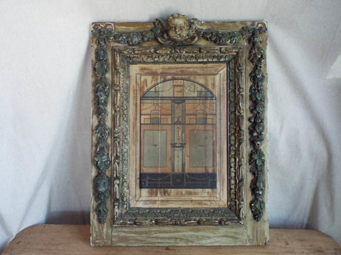 Large 18th C Gothic Antique Architectural Drawing of Pompei House Interior - Yesteryear Essentials  - 1