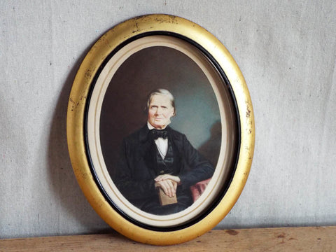 19th C Antique Miniature Hand Painted Portait Photo by Samuel Broadbent - Yesteryear Essentials  - 1