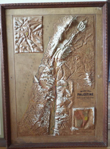 Antique 1895 Large Wall Relief Map of Palestine - Yesteryear Essentials  - 1