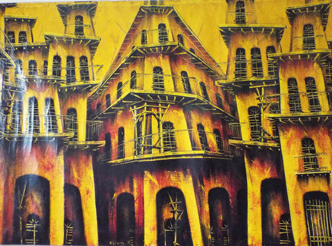 "Vintage Signed Oil on Canvas Cuban Cityscape - 48"" by 31"" - Yesteryear Essentials  - 1"