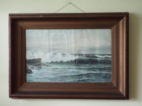 Large Framed Watercolor Painting Vintage Signed Seascape Art George H Flavelle