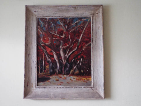 Vintage Framed Oil on Canvas Painting Autumn Fall Landscape Art Red Wooded Copse