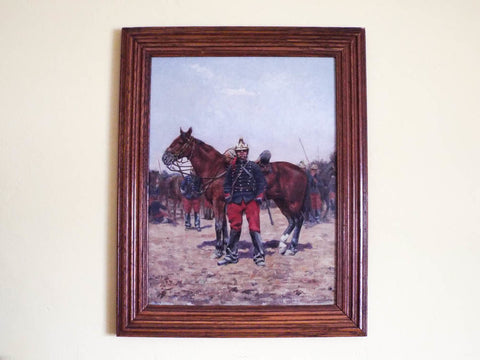 Antique Signed Oil On Canvas Military Oil Painting of Soldier