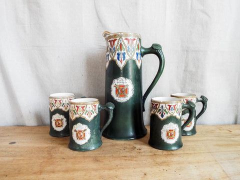 Antique Ceramic Leisy Brewing Co Beer Mugs & Pitcher - Yesteryear Essentials  - 1