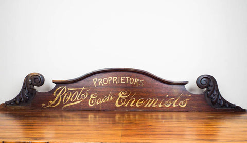 Antique Advertising Boots Cash Chemists Vintage Wood Sign - Yesteryear Essentials  - 1
