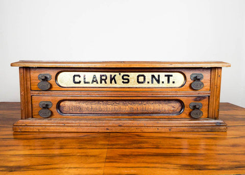 Antique Clarks ONT Wooden 2 Drawer Sewing Spool Display Cabinet Box - Yesteryear Essentials  - 1