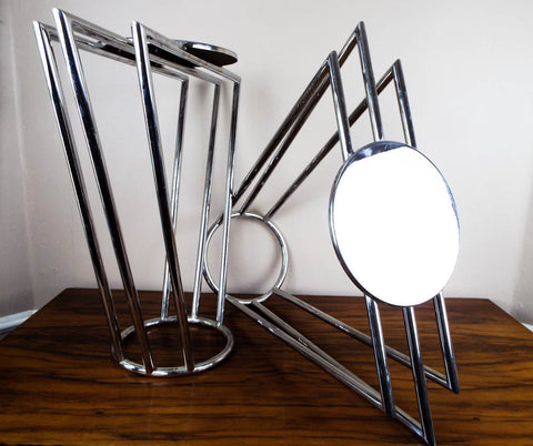 Vintage Art Deco Machine Age Chrome Skyscraper Design Side Tables - Yesteryear Essentials  - 1