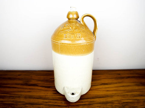 Antique English1 Gallon Crock Jug ~ H Inwood Grocer, Luton - Yesteryear Essentials  - 1
