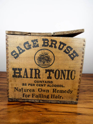 Antique c 1907 Sage Brush Hair Tonic Wood Box & 12 Amethyst Bottles - Yesteryear Essentials  - 1