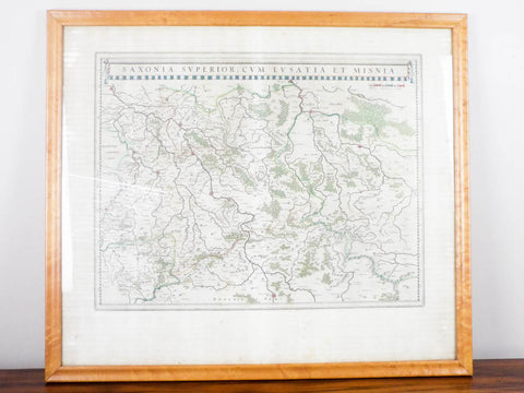 Antique 1630s Map ~ Saxonia Superior Cum Lusatia et Misnia William Blaeu - Yesteryear Essentials  - 1