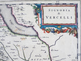 1600s Framed Antique Map ~ Signoria di Vercelli, Italy - Yesteryear Essentials  - 2