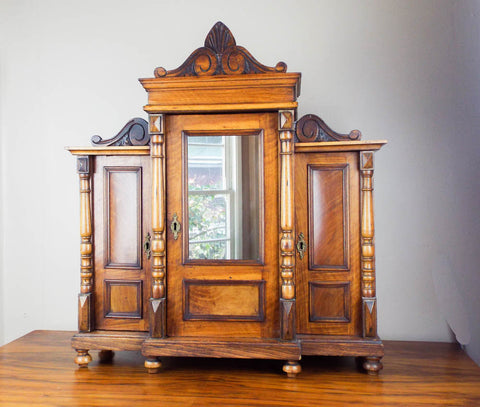 Antique Victorian Large Wooden Wall Display Cabinet Wood - Yesteryear Essentials  - 1