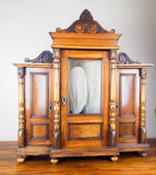 Antique Victorian Large Wooden Wall Display Cabinet Wood - Yesteryear Essentials  - 10