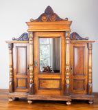 Antique Victorian Large Wooden Wall Display Cabinet Wood - Yesteryear Essentials  - 9