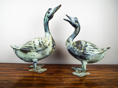 Vintage Metal Birds Pair of Geese Statues Garden Decor Statuary - Yesteryear Essentials  - 1