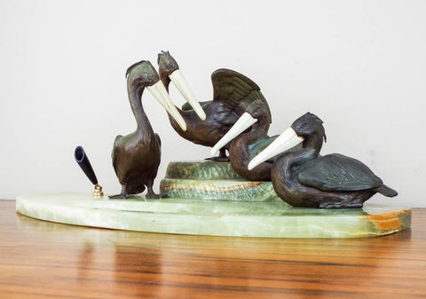 Antique Austrian Bronze Pelican Sculpture Desk Set - Yesteryear Essentials  - 1