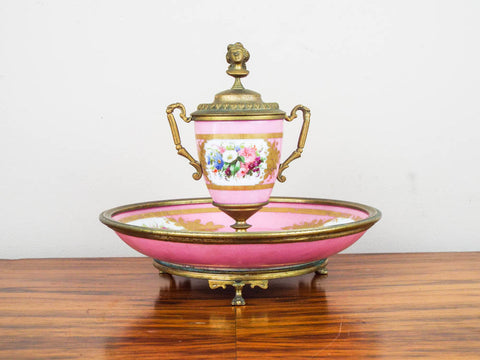 Antique French Pink Porcelain and Ormolu Decorative Desk Inkwell ~ Sevres Style - Yesteryear Essentials  - 1