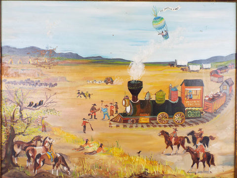 Signed Folk Art Oil Painting by Diana ~ Train & Hot Air Balloon - Yesteryear Essentials  - 1