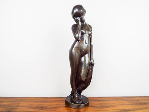 "14"" Patinated Bronze Nude Sculpture attributed to Bennett Brothers"