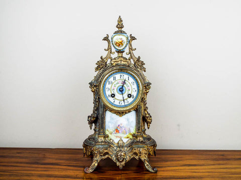 French Louis XV Style 19th C Vincenti Sevres Style Mantel Clock - Yesteryear Essentials  - 1