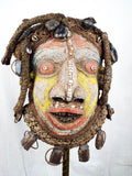 Vintage Bamileke Cameroon African Wood Beaded Mask