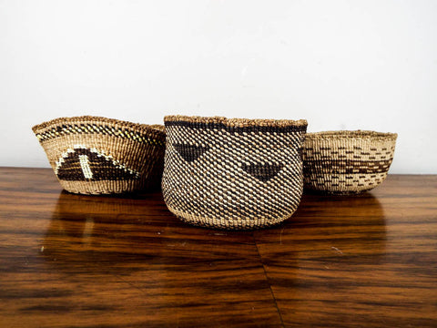 Set of 3 Soft Twined Klamath Modoc Small Baskets w Quill Decoration - Yesteryear Essentials  - 1
