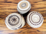 Set of 3 Soft Twined Klamath Modoc Small Baskets w Quill Decoration - Yesteryear Essentials  - 3
