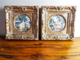 Antique 19th C Framed Miniature Scenic Paintings After Boucher - Yesteryear Essentials  - 1