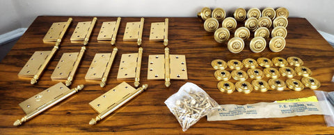 Vintage P E Guerin Louis XVI pattern Brass Hinges and Door Knobs Hardware Gant Chandler Estate - Yesteryear Essentials  - 1