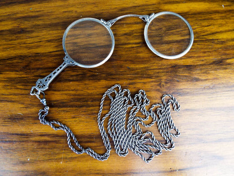 Antique Edwardian Art Deco Sterling Silver Lorgnette Opera Glasses - Yesteryear Essentials  - 1
