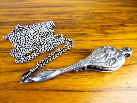 Art Nouveau Sterling Silver Lorgnette Opera Glasses - Yesteryear Essentials  - 1