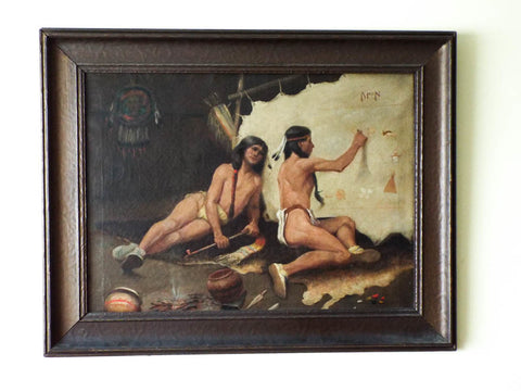 Antique Carl (Karl) Moon Oil on Canvas Painting of Native Americans