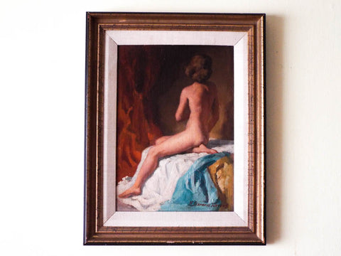 Signed Redmond Stevens Wright Seated Nude Oil Painting - Yesteryear Essentials  - 1