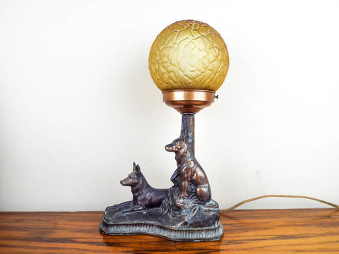 Vintage German Shepherd Dog Table Lamp - Yesteryear Essentials  - 1