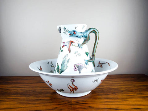 Antique British Porcelain Pottery George Jones Majolica Wash Basin and Pitcher - Yesteryear Essentials  - 1