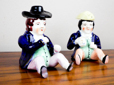 Antique Pair of Staffordshire Porcelain Novelty Figurines