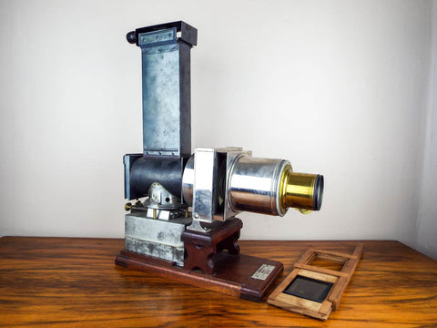 Antique 19th Century A T Thompson Boston Magic Lantern Slide Projector Petzval Lens French Import