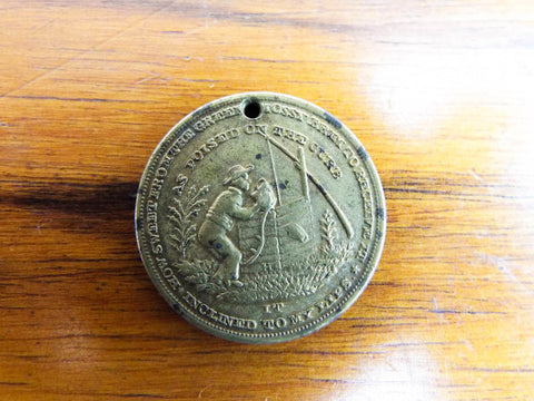 Antique Religious Old Oaken Bucket Temperance Medal