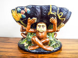 Vintage Ceramic Majolica Figural Tropical Fruit Bowl