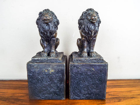 Pair of Vintage Addotta Bronze Lion Sculpture Statue Figural Bookends by Hamilton Studios