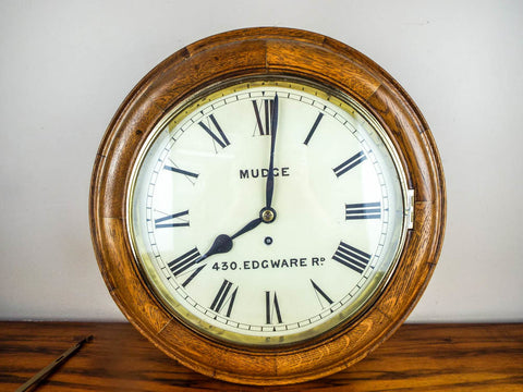 Antique English 1900s George Mudge Oak Wall Clock 420 Edgware Road