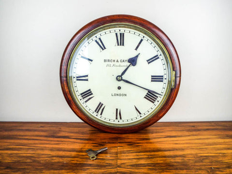 Antique English Mahogany Cased Birch & Gaydon Fusee Movement Wall Clock 153 Fenchurch Street, London 1920's